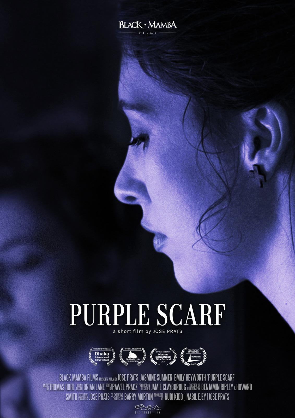 """Poster del film """"Purple scarf"""" di José Prats per la sezione distribuzione cortometraggi"""