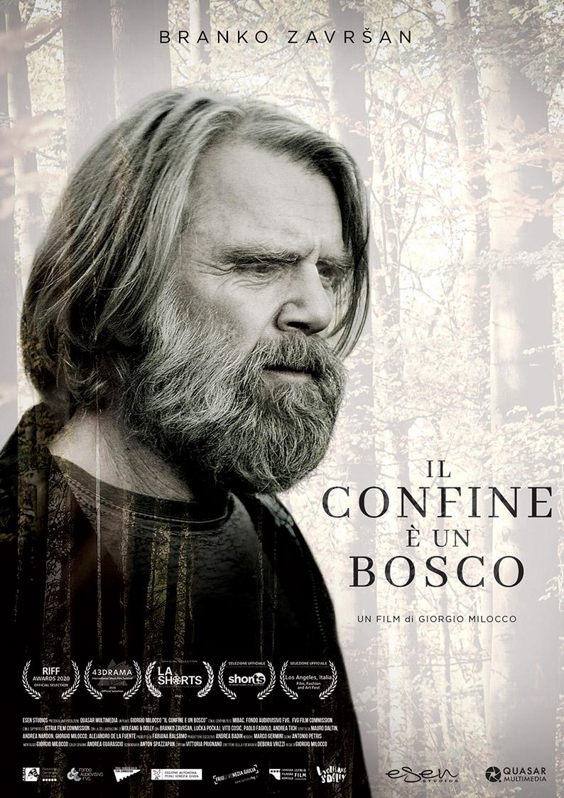 """Poster del film """"Il confine è un bosco"""" di Giorgio Milocco, inserito nella distribuzione cortometraggi"""